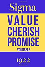 Sigma Value Cherish Promise Yourself 1922: Inspirational Quotes Blank Lined Journal