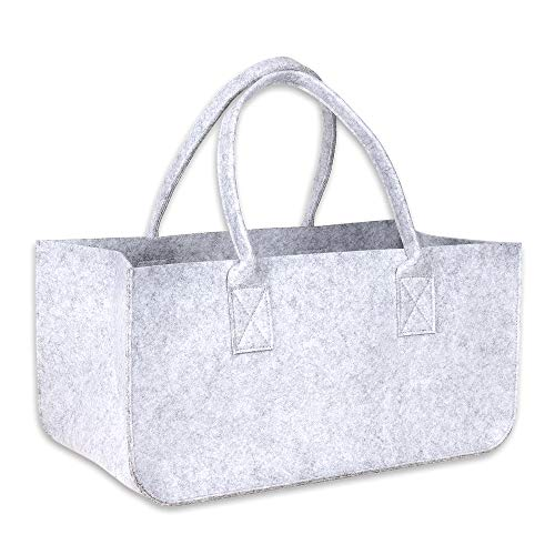Schramm® 1 of 2 stuks vilten tas Vilten tas in lichtgrijs 50x25x25 cm brandhouten tas houten mandje winkelmandje vilten mandje krantentassen, Anzahl:2