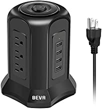Desktop Power Strip Tower Surge Protector BEVA 10ft Charging Station 9 AC Outlets 4 USB Ports, 900 Joules, 1875W/15A, Long Extension Cord for Home Office Appliances Smartphones Computer Tablets(Black)