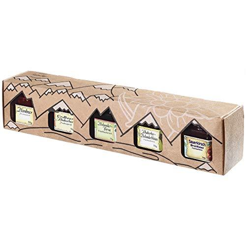 Allgäuer Genuss-Box | Marmeladen Geschenk-Box 5x 50g Feinschmecker Fruchtaufstrich