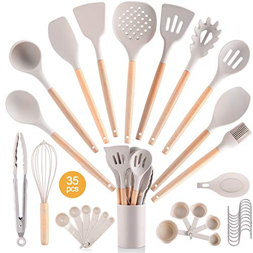 35PCS Silicone Kitchen Cooking Utensil Set with Storage Box for Countertop,Wooden Cook Gadgets Kitchen Utensils Spatula Sets with Wood Handle for Cookware (Light Brown)