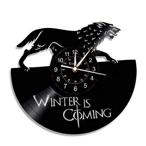 Smotly Vinilo Pared Reloj, Juego de Tronos Tema de Registro de diseño de Reloj de Pared, Reloj de Pared Hecha a Mano Regalo Retro Creativo,H6,1B