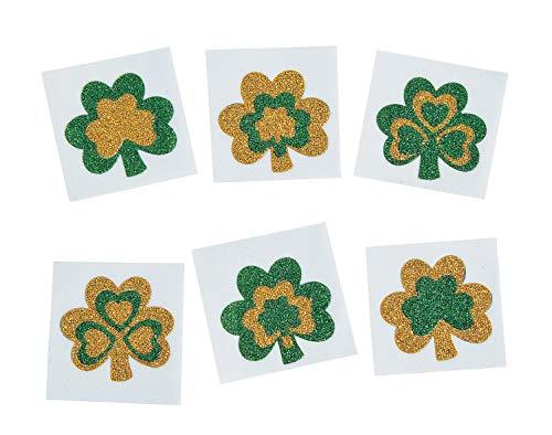 Glitter Shamrock Tattoo Stickers Pack of 12