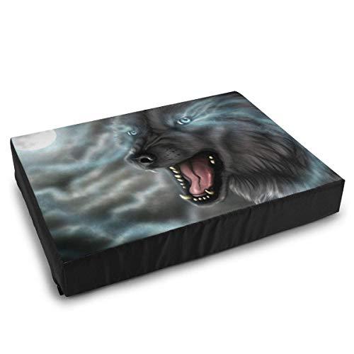 YAGEAD Haustierbetten Wolf und der Mond malen Hundebett für mittelgroße kleine Hunde, die waschbares wasserdichtes Kissenbett beruhigen