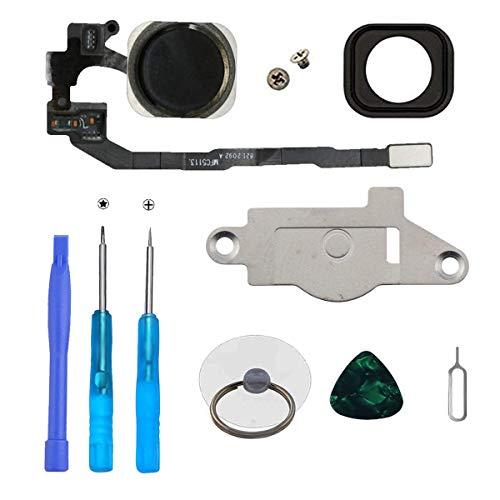 LTZGO Home Bouton Principal pour iPhone 5S (Noir) avec Bouton Flexible et kit de réparation pour Montage Facile