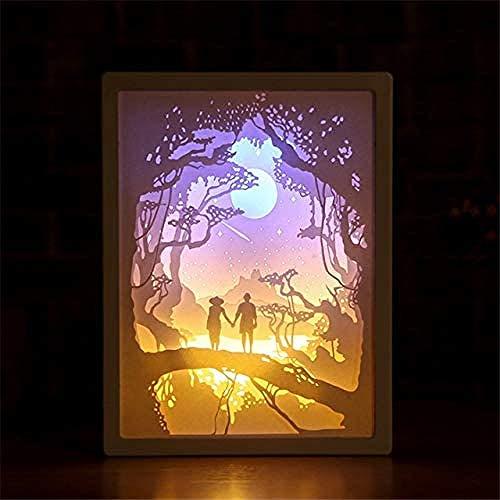Wangzj Lámpara de talla de papel 3D Decoración de arte LED Luz de sombra Dormitorio Lámpara de mesa de noche Lámpara de decoración tallada de Halloween Regalos de cumpleaños para niños/C