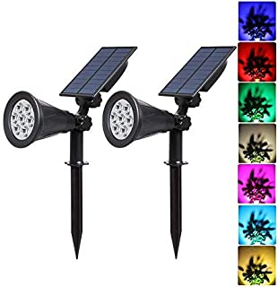 T-SUNUS LED Solar Spotlights, 7 LED Color-Changing Garden Solar Lights,Security Lighting, Path Lights,Landscape Light for Patio,Lawn,Tree,Yard, Garden (2Pack)