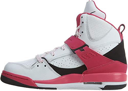 Nike Jordan Flight 45 High IP GG, Chaussures de Basketball Garçon, Blanc/Noir/Rose (White Black Vivid Pink), 38 EU