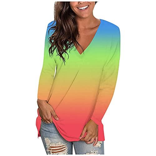 캐주얼 탑 여성 패션 넥타이 염료 그라디언트 티셔츠 느슨한 V 넥 블라우스 티셔츠 긴 소매 풀오버