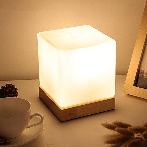 icase4u® Moderne Einfachheit Holz Nachttischlampen Table Lamp Tischlampe Decorative Lamp Schreibtischlampe (A)