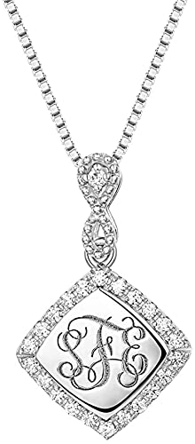 Scott NaismithCollar con monograma de cubo personalizado con collar con inicial de circonita cúbica personalizada Encanto de joyería con símbolo de infinito (Plata de...