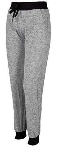 Iwea Damen Jogginghose Freizeithose Casual Sweatpants Sporthose Trainingshose Meliert IW059, Hellgrau, S/M
