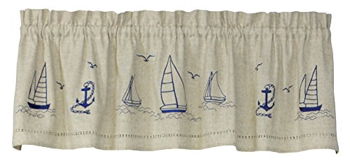Snapshots 58 Inches Wide x 14 Inches Long Polyester and Linen Sailboats Valance Curtain, Linen