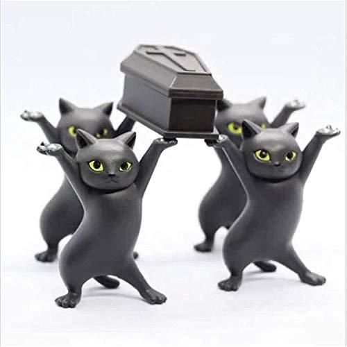 Bailando ataúd gatos palberos figurines juguete, el gato ataúd baile, ataúd baile figuras figuras funeral bailando equipo, gracioso gato PVC modelo, Muñeca hecha a mano Modelo de juguete Adornos de so