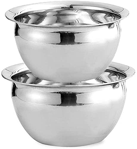 CHOUREN 2 items of chrome steel mixing bowl, metallic nesting bowl, meal preparation bowl, used to retailer cake and biscuit baking preparation service utensils, (Color : Without Cover)