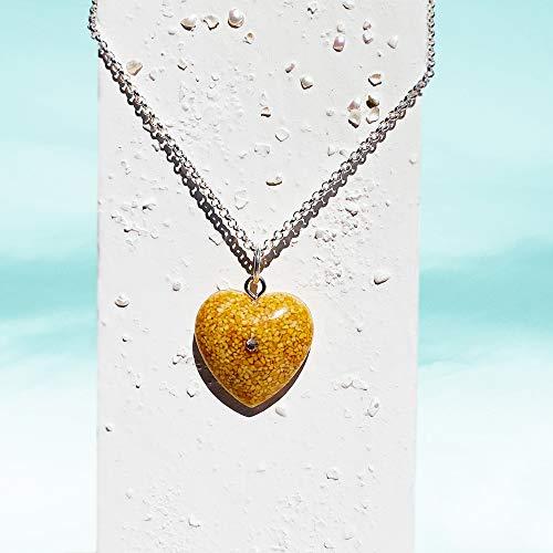 Nia - Strand Sand Herz Halskette | Naturschmuck | Herz Charm Choker | Boho | Einzigartiger Schmuck für Sie | 32OJ