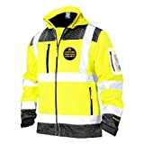 KwikSafety (Charlotte, NC) GALAXY SoftShell Safety Jacket (LIMITED EDITION Pattern) Class 3 Hi Visibility Water Resistant ANSI OSHA Reflective Hoodie Winter Construction Gear Men   Yellow Large