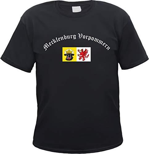 Mecklenburg-Vorpommern Herren T-Shirt - Altdeutsch mit Wappen - Tee Shirt Schwarz XL