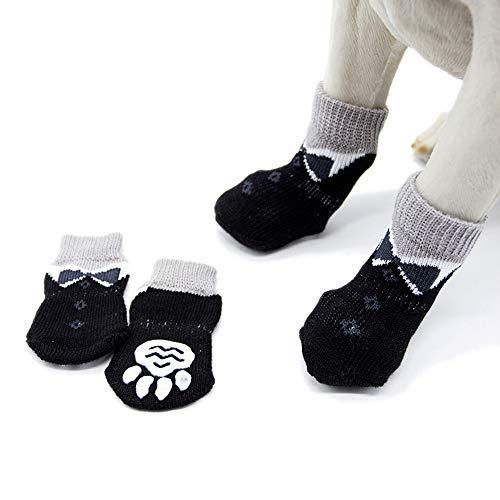 Kingsie ペット用靴下 犬用 ソックス 4個セット 滑り止め 黒 かわいい 柔らかい 肉球保護 防寒 ペット用品 クリスマス/室内/室外 (S)