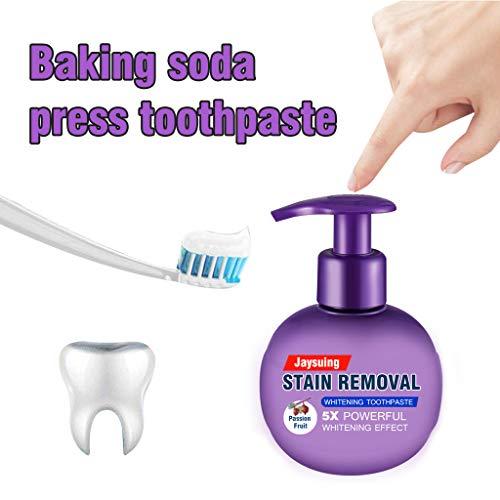 Wyxhkj Soda Zahnpasta, Jaysuing Backpulver Leistungsstarke Dekontamination Whitening Zahnpasta,Drücken Sie die Flasche, Gegen Zahnfleischbluten Ohne fluorid Zahnpasta für Zahnreinigung(Lila)