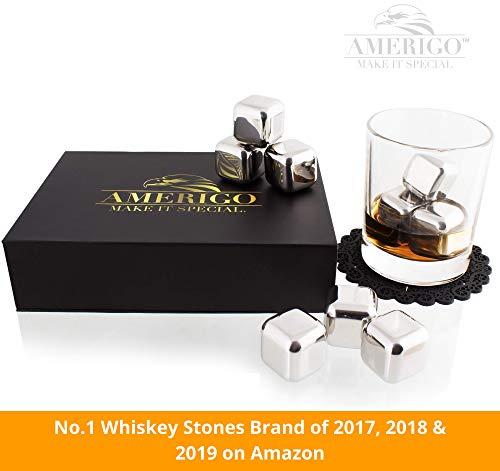 Exklusives Edelstahl Whisky Steine Geschenkset – Hohe Kühltechnologie - 8 Whisky Eiswürfel Wiederverwendbar - Edelstahl Eiswürfel - Besondere Geschenke für Männer - Edelstahl Kühlstein von Amerigo - 8
