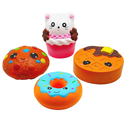 Korilave 4Pcs Jumbo Squishies Slow Rising Toys Kawaii Cat Cake Donut Waffles Cookies Pack,Cream Scented Soft Squishy Party Favors for Kids Stress Relief Christmas Stocking Stuffers