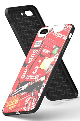SUPR Carcasa de cristal adhesivo [compatible con Apple iPhone 7/8 Plus, en rojo] SUPREM Pegatina Cover – Parte trasera con cristal templado 9h – Nueva York – parachoques de cristal TPU delgado