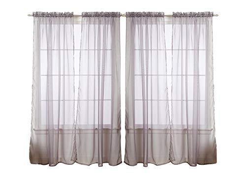 4-Pack Value: Solid Sheer Window Curtain Panels (Silver)