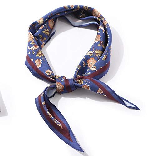 Modieus gemakkelijk te dragen sjaals vrouwen heuptas decoratie met lente en zomer Koreaanse smalle strepen sjaalbloem donkerblauw