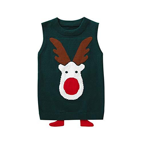 Gyratedream Kids Knit Gilets Jongens Meisjes Lelijke Kerst Trui Mouwloos Gebreide Jumper Vest Tops Leeftijd 2-9 Jaar Klassieke Kerst Herten Patroon