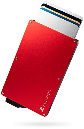 [zepirion] クレジットカードケース スキミング防止 磁気防止 スライド式 スリム マネークリップ付き アルミニウム レッド