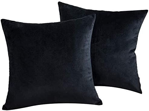 JUEYINGBAILI Throw Pillow Covers Velvet Decorative 2 Packs Ultra Soft Black Pillowcase 18 x product image