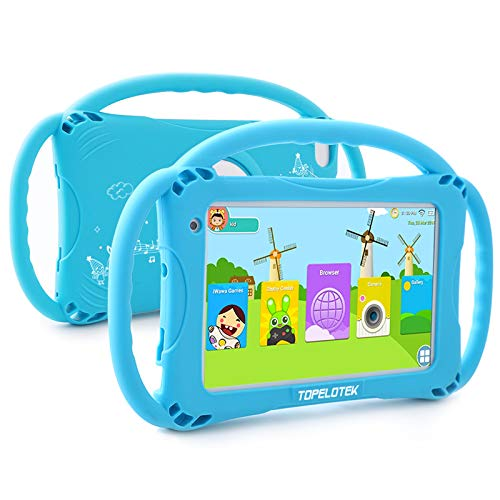 Kids Tablet 7 Android Kids Tablet for Toddlers Kids Friendly Learning Tablet with WiFi Camera Children's Tablets Android 9.0 1GB + 16GB Parental Control with Shockproof Case (Blue) …