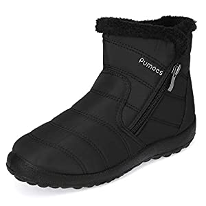 Pumoes Women Warm Snow Boots Winter Fur Lining Shoes Anti-Slip Lightweight Ankle Boots Outdoor Warm Comfortable Shoes Waterproof Slip on Sneakers