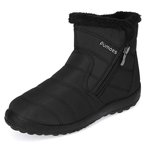 Pumoes Women Warm Snow Boots Winter Fur Lining Shoes Anti-Slip Lightweight Ankle Boots Outdoor Warm Comfortable Shoes Waterproof Slip on Sneakers Black 8 M US