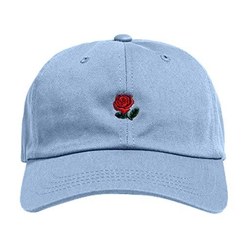 PPSTYLE Frauen-Stickerei-Baumwollbaseballmütze-Jungen-Mädchen-Hysteresen-Hip-Hop-Flacher Hut Cotton Rose stickte Baseballmütze-Art und Weise Wilden Hut-Hellblau