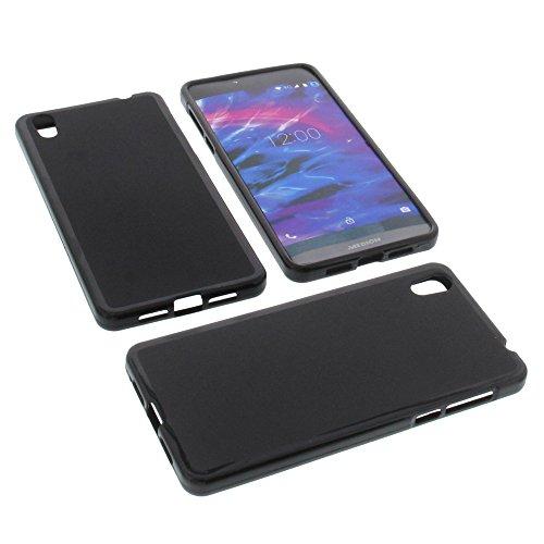 foto-kontor Tasche für MEDION Life X5004 Gummi TPU Schutz Handytasche schwarz