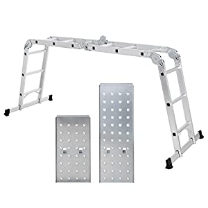 SONGMICS Escalera de Aluminio Multifuncional, Máx. Carga de Capacidad de 150 kg, Conforme al Estándar EN131 TÜV Rheinland GS, GLT36M