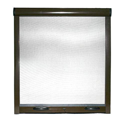 Zanzariera A Rullo Avvolgibile Universale Profilo Regolabile Riducibile Telaio In Alluminio Per Finestra Porte Portafinestra Balconi Con Frizione In Kit Fai Da Te Colore Marrone (120 x 170)