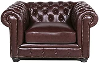 BOWERY HILL Leather Chesterfield Accent Chair in Brown