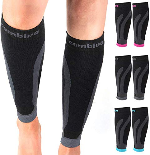 CAMBIVO 2 Pair Compressione Graduata Fasce Polpaccio per Uomo e Donna, per Sports Recovery, Work, Flight, Running, Cycling, Soccer, Rugby, Fitness, Gym, Golf, Tennis, Triathlon