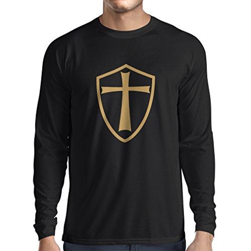 Camiseta de Manga Larga para Hombre Caballeros Templarios - Escudo de los Templarios (Medium Negro Oro)