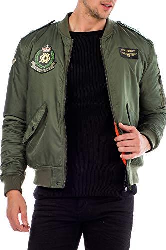 Cipo & Baxx Chaqueta bomber de entretiempo para hombre, estilo militar con parches verde XXL