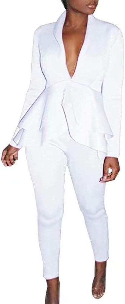 Chatinction Women's Elegant 2 Piece Blazer Suit Deep V Neck Ruffle Top Bodycon Long Pant Set