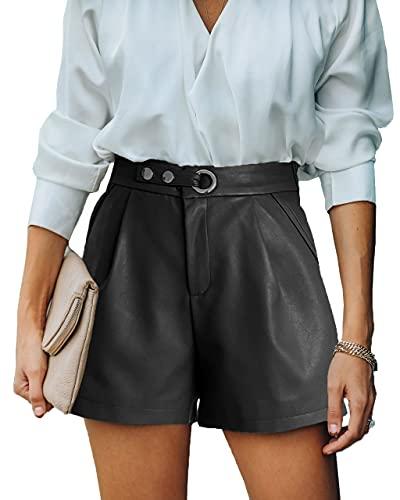 Maavoki Damen Leder Shorts, PU Leder Kurze Hose Hohe Taille, Casual Lederhose mit Elastischer Bund, Leather Short Pants Für Frauen Teen Girls Schwarz Medium
