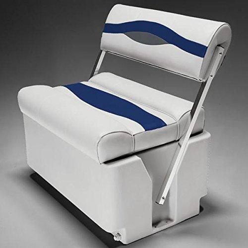 DeckMate Premium Pontoon Flip Flop Seats (Gray/Blue/Charcoal)