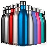 BICASLOVE Bottiglia Termica, Bottiglia per Vuoto in Acciaio Inossidabile,Design a Doppia Parete, Bocca Standard, per Corsa, Palestra, Yoga, Ciclismo [750ML Blu]