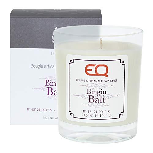 EQ | Bougie Parfumée Bingin Bali - Cire 100% Naturelle et Végétale - Mèche pur Coton - Senteur Vanille, Patchouli - Notes Florales - 40 Heures de Brûlage - Fabriquée En France