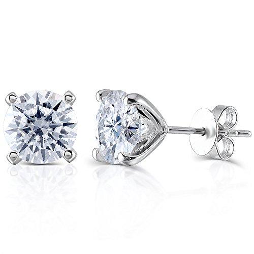 Transgems 14K White Gold H Color Moissanite Simulated Diamond 4 Prongs Stud Earrings Push Back for Women (1)