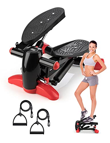 DACHUANG Exercise Stepper, Stair Stepper Machine Including LCD Monitor/Resistance Bands for Indoor Workout,Black Aerobic Stepper for Exercise